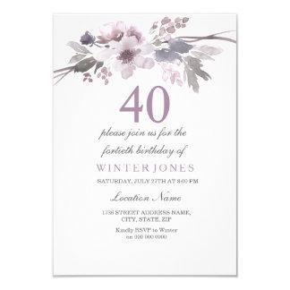 O partido de aniversário de 40 anos roxo bonito da convite 8.89 x 12.7cm
