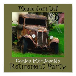 O partido de aposentadoria antigo do caminhão convites personalizados