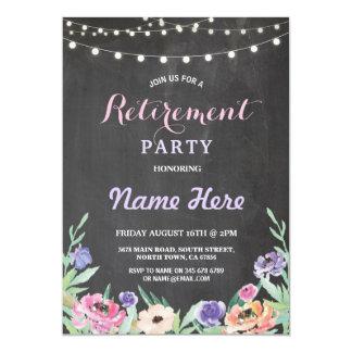 O partido de aposentadoria floral ilumina o giz do convite 12.7 x 17.78cm