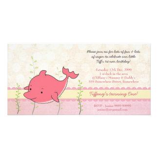 O partido de primeiro aniversario cor-de-rosa das  cartão com fotos personalizado