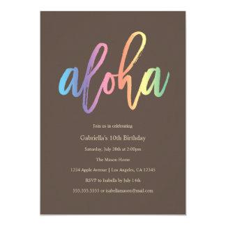 O partido do arco-íris Aloha | convida Convite 12.7 X 17.78cm