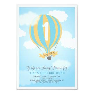 O partido do bebé do aniversário do balão de ar convite 12.7 x 17.78cm