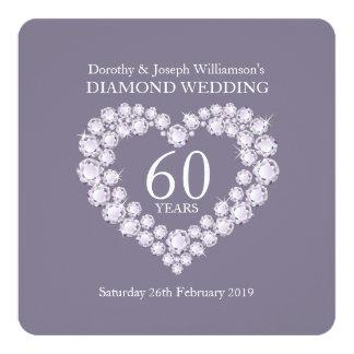 O partido do coração 60 dos diamantes do casamento convite quadrado 13.35 x 13.35cm