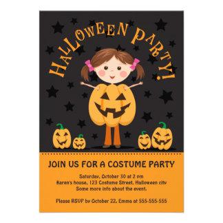 O partido do Dia das Bruxas convida com a menina d Convite Personalizados