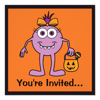 O partido do Dia das Bruxas convida com o monstro Convite Quadrado 13.35 X 13.35cm