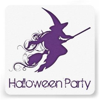 O partido do Dia das Bruxas da silhueta da bruxa Convite Personalizado