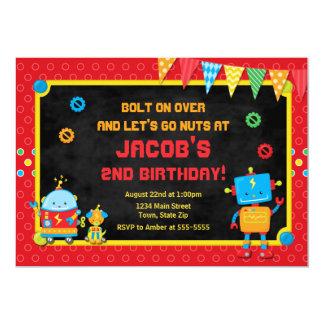 O partido do robô do convite do aniversário do