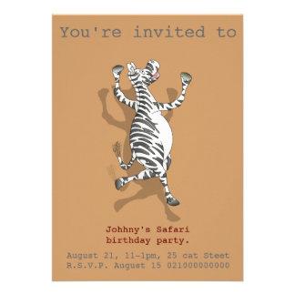 O partido do safari da zebra convida convite personalizados