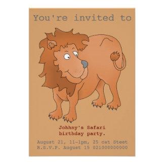 O partido do safari do leão convida convite personalizado