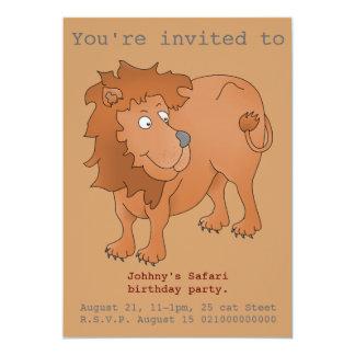 O partido do safari do leão convida convite 12.7 x 17.78cm