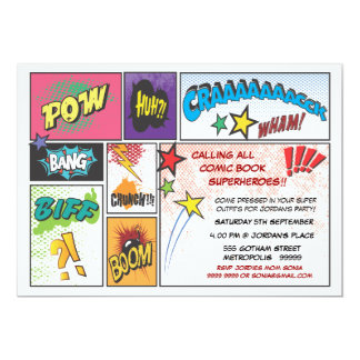 O partido do super-herói da tira da banda convites personalizados