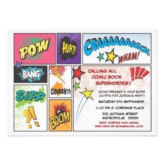 O partido do super-herói da tira da banda desenhad convites personalizados