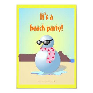 O partido engraçado da praia do boneco de neve convite 12.7 x 17.78cm