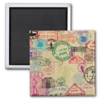 O passaporte do vintage carimba o ímã quadrado de