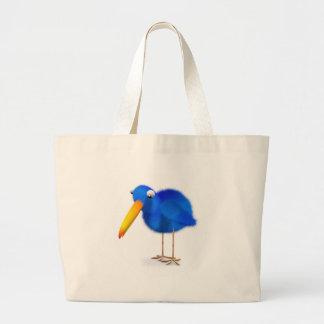 o pássaro 3d azul olha para baixo bolsa para compras
