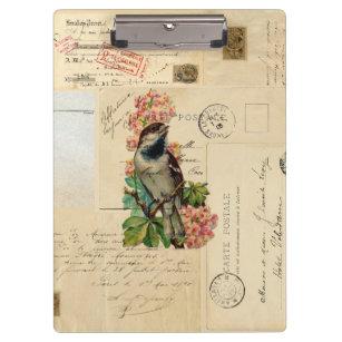 O pássaro do vintage floresce a prancheta francesa