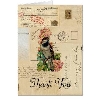 O pássaro do vintage floresce cartões de