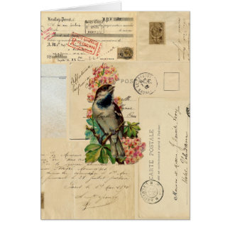 O pássaro do vintage floresce o cartão francês dos