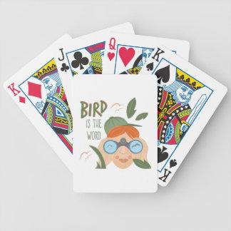 O pássaro é palavra baralhos de pôquer