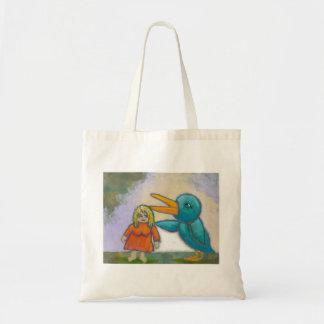 O pássaro gigante da mulher jogou uma arte origina sacola tote budget