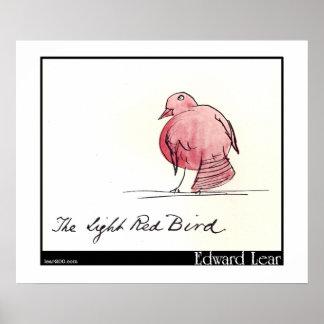 O pássaro vermelho claro de Edward Lear Posteres
