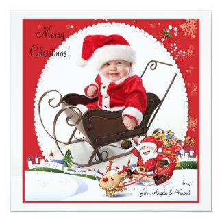 O passeio do papai noel - cartão do feriado da convite quadrado 13.35 x 13.35cm