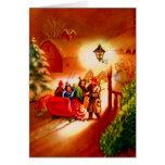O passeio do trenó - cartão do natal vintage