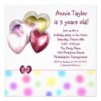 O Pastel do aniversário de 3 anos Balloons partido Convites Personalizados
