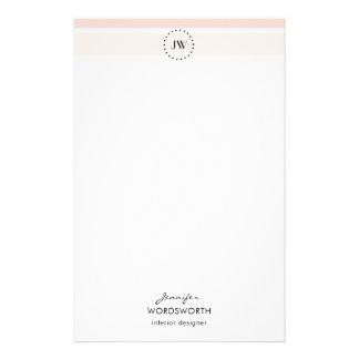 O Pastel do monograma listra artigos de papelaria
