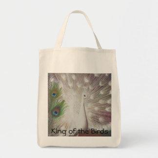 O pavão branco e a arte verde da pena do pavão sacola tote de mercado