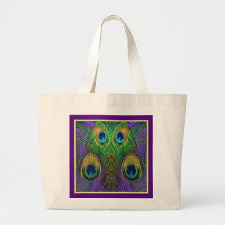 O pavão do Verde-Roxo-Ouro empluma-se presentes Bolsa Tote Grande