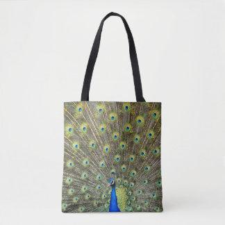 O pavão empluma-se o saco de compras bonito do bolsa tote