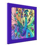 O pavão mostra seu impressão das canvas das penas  impressão de canvas envolvida