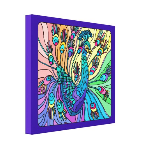 O pavão mostra suas penas: 3D canvas Prin Impressão Em Tela