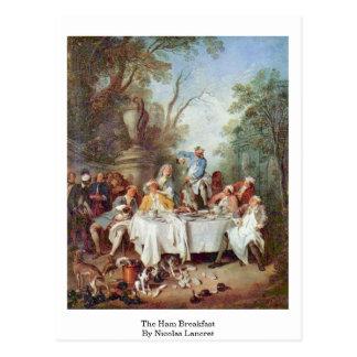 O pequeno almoço do presunto por Nicolas Lancret Cartão Postal