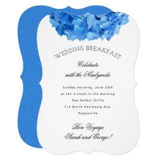 O pequeno almoço floral azul do casamento do bon convite 12.7 x 17.78cm