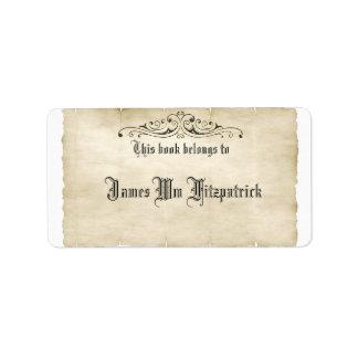 O pergaminho velho do estilo do vintage adiciona etiqueta de endereço