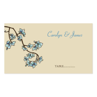 o pêssego azul do fatfatin floresce cartão do cartão de visita