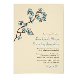 o pêssego azul do fatfatin floresce convite do convite 12.7 x 17.78cm