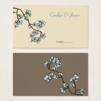 O pêssego azul floresce cartão chinês do lugar do