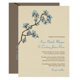 O pêssego azul floresce convite de casamento do