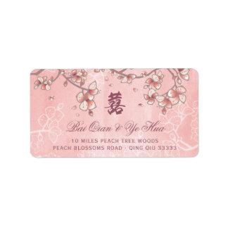 O pêssego cor-de-rosa floresce etiquetas de