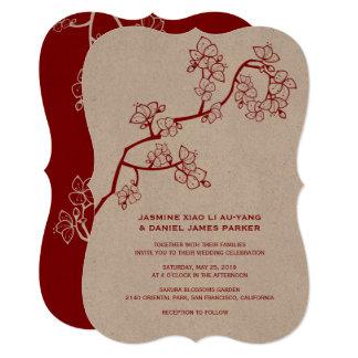 Cartão O pêssego vermelho floresce convite de casamento