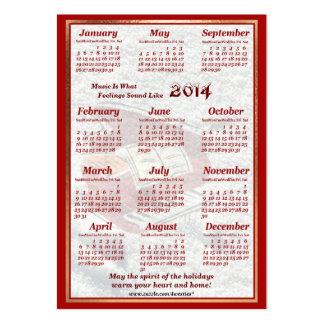 O piano 2014 deixou o calendário do bolso de ar da cartão de visita grande