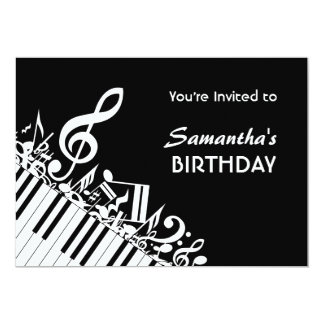O piano fecha a festa de aniversário branca preta convite 12.7 x 17.78cm