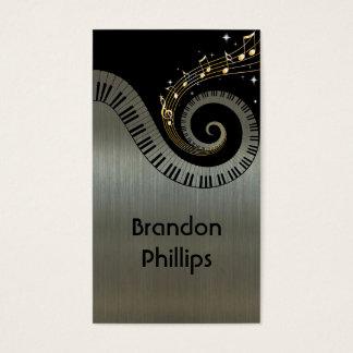 O piano metálico impresso do efeito fecha a música cartão de visitas