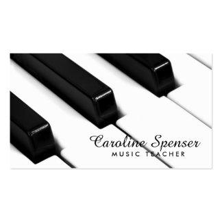 O piano preto & branco fecha o cartão de professor modelos cartão de visita