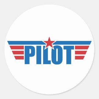 O piloto voa o crachá - aviação adesivos em formato redondos