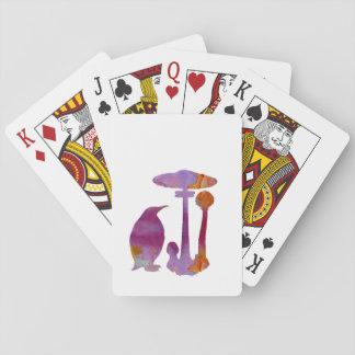 O pinguim e o cogumelo cartas de baralho