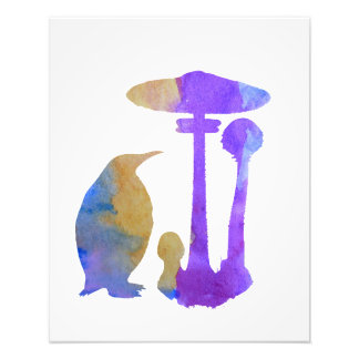 O pinguim e o cogumelo impressão de foto